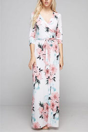 3/4 Sleeve Floral Print Long Maxi Dress-White & Pink