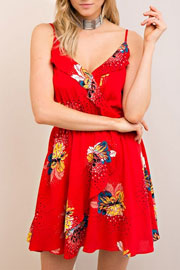 Spaghetti Strap Floral Print Ruffle Summer Dress-Red