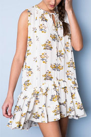 :As Seen In PEOPLE STYLEWATCH Magazine: Sleeveless Boho Floral Ruffle Hem Dress-Off White