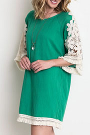 Boho Floral Embroided Sleeve Fringe Shift Dress-Green