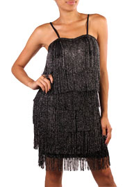 1920s Vintage Inspired Fringe Flapper Mini Dress Costume-Metallic Black & Silver