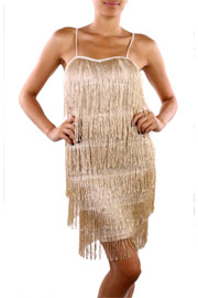 1920s Vintage Inspired Fringe Flapper Mini Dress Costume-Metallic Gold