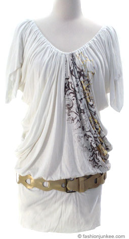 Jersey Graphic Print Kimono Off the Shoulder Belted Mini Dress-White