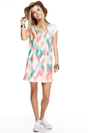 Easy Breezy Short Sleeve Multi-Color Geometric Shirt Dress-Coral