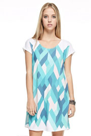 Easy Breezy Short Sleeve Multi-Color Geometric Shirt Dress-Mint