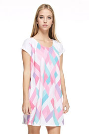 Easy Breezy Short Sleeve Multi-Color Geometric Shirt Dress-Pink