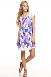 Easy Breezy Short Sleeve Multi-Color Geometric Shirt Dress-Purple