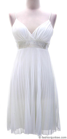 Pleated Spaghetti Strap Sequin Waist Mini Dress-White :  beaded vneck wedding lined