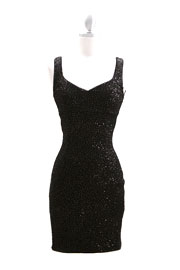 Glitter Sequin Sweetheart Sleeveless Mini Dress-Black