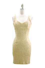 Glitter Sequin Sweetheart Sleeveless Mini Dress-Gold Ivory