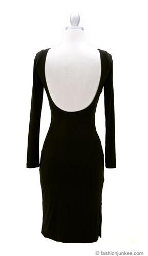 Knee Length Long Sleeve Backless Evening Dress Black