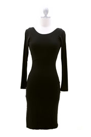 Knee Length Long Sleeve Backless Evening Dress-Black