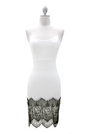 Sexy Lace Bottom Body Con Strapless Dress-White
