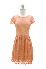 Romantic Lace Cap Sleeve Mini Dress-Coral