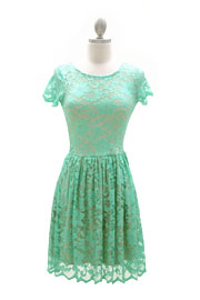 Romantic Lace Cap Sleeve Mini Dress-Mint