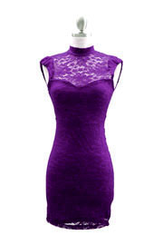 Lace Sweetheart Choker Mini Dress, Open Back-Purple
