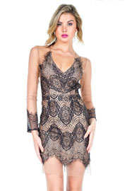 Sexy Sheer Mesh and Lace Deep V-Neck Cocktail Dress-Black & Beige