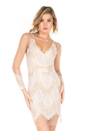 Sexy Sheer Mesh and Lace Deep V-Neck Cocktail Dress-White & Beige