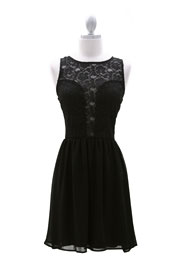 Lace Plunging Neckline Chiffon Mini Dress-Black
