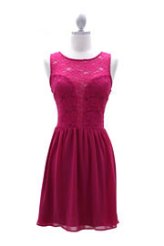 Lace Plunging Neckline Chiffon Mini Dress-Magenta