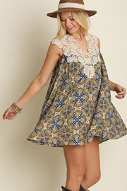 Sleeveless Boho Print Dress with Lace Neck Detail-Blue & Mustard Yellow