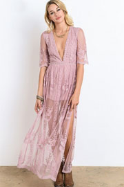 Low Cut Plunging Neckline Sheer Lace Dress-Light Mauve