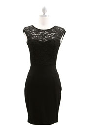 Knee Length Lace Sweetheart Dress Cap Sleeve-Black