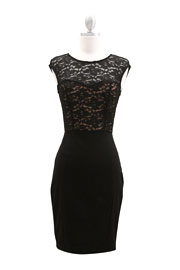Knee Length Lace Sweetheart Dress Cap Sleeve-Black & Nude