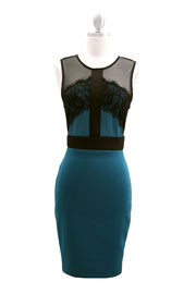 Knee Length Lace and Mesh Backless Dress-Teal & Black