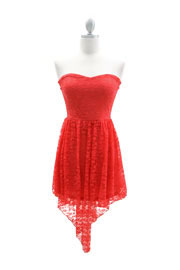 Lace Strapless Sweetheart Hi Low Tail Dress-Coral