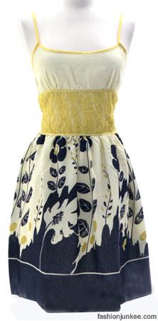 Silk Cotton Gauze Floral Summer Dress, Lace Waist-Blue & Yellow