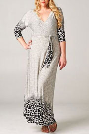 Plus Size 3/4 Sleeve Animal Print Long Maxi Faux Wrap Dress-Black & White