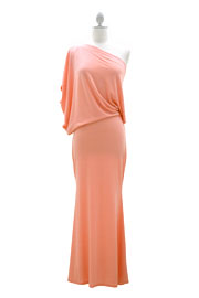:As Seen In US WEEKLY: Long Full Length Jersey Boat Neck Off the Shoulder Dress-Coral