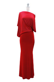 :As Seen In US WEEKLY: Long Full Length Jersey Boat Neck Off the Shoulder Dress-Red