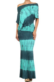 Tie Dye Long Full Length Jersey Boat Neck Off the Shoulder Dress-Mint