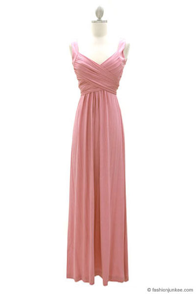 :As Seen In US WEEKLY: Long Crossover Fauxe Wrap Vintage Inspired Jersey Bridesmaid Dress-Dusty Pink