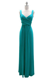 :As Seen In US WEEKLY: Long Crossover Fauxe Wrap Vintage Inspired Jersey Bridesmaid Dress-Blue Green