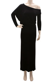 :As Seen In US WEEKLY: Long Sleeve Off the Shoulder Boat Neck Maxi Dress-Black