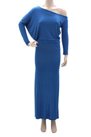 :As Seen In US WEEKLY: Long Sleeve Off the Shoulder Boat Neck Maxi Dress-Blue