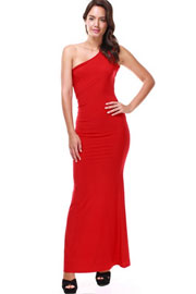 Long Full Length One Shoulder Strappy Open Back Dress-Red