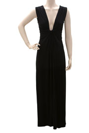 :As Seen In US WEEKLY: Long Full Length Low Cut Twist Plunge Maxi Dress-Black