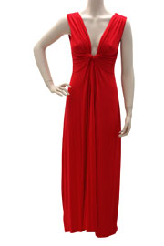 :As Seen In US WEEKLY: Long Full Length Low Cut Twist Plunge Maxi Dress-Red