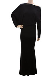 :As Seen In US WEEKLY: Long Sleeve Full Length Jersey Boat Neck Off the Shoulder Dress-Black