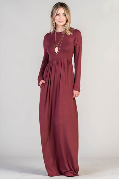 Solid Jersey Long Sleeve Maxi Dress With Hidden Pockets Black