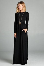 Solid Jersey Long Sleeve Maxi Dress with Hidden Pockets-Black