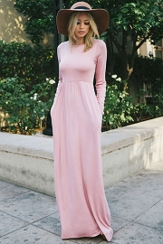 Solid Jersey Long Sleeve Maxi Dress with Hidden Pockets-Pink