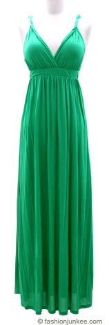 :As Seen in US WEEKLY: Long Jersey Maxi Dress Deep V-Neck with Twisted Strap, Open Back (Padded Cups)-Green