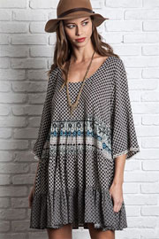 Bohemian Printed 3/4 Sleeve Peasant Dress-Black