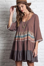 Bohemian Printed 3/4 Sleeve Peasant Dress-Brown