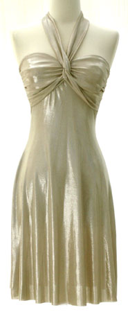 GLAM Metallic Halter Sweetheart Mini Dress-Gold :  mini dress halter dress sexy dress metallic dress